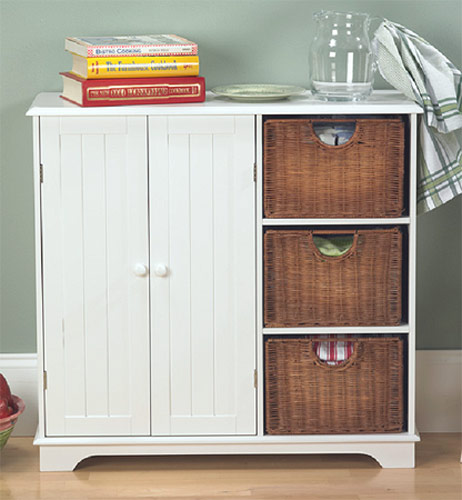 Aurora Wicker Drawer Sideboard, White Finish