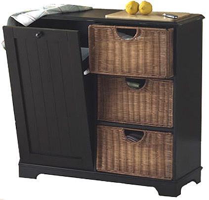 Trash Bin Kitchen Storage Table With Cutting Board