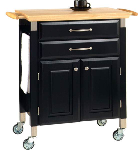 Home Styles Prep & Serve Cart, Black w/Natural Top