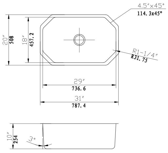 Kitchen Sinks Single Bowl Stainless Steel Octagon Sink