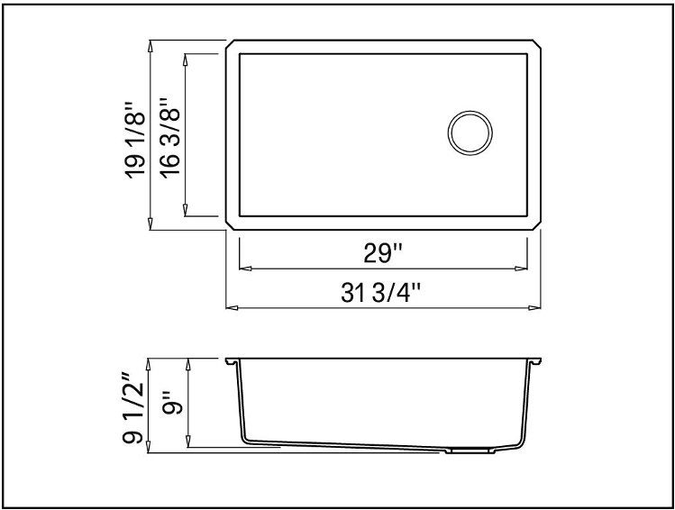Forteza 32 Undermount Single Bowl Granite Kitchen Sink