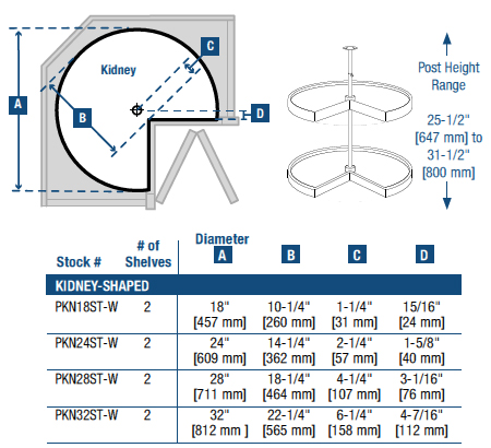 knape vogt polymer kidney shaped 2 shelf lazy susans. Black Bedroom Furniture Sets. Home Design Ideas