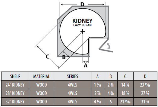 rev a shelf 39 39 wood classic kidney shaped single shelf lazy susan post included. Black Bedroom Furniture Sets. Home Design Ideas