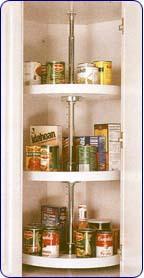 Rev-A-Shelf Pantry Cabinet Full Circle Shelf, 3 Shelf Set, 20 inch Dia, Almond Color, Polymer Finish