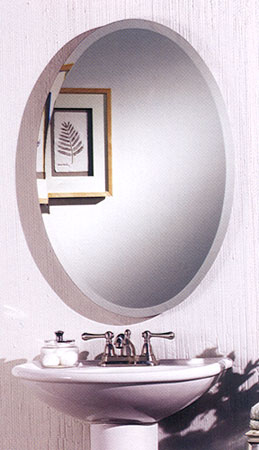 Broan Cameo Frameless Beveled Recessed Oval Medicine Cabinet 21 inch W x 31 inch H