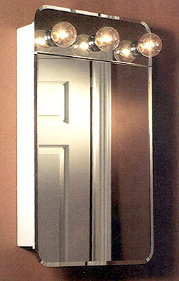 Broan Lafayette Frameless Surface Mount Medicine Cabinet with Exterior Lights and Piano Hinge 18 1/8? W x 4? D x 32 3/8? H