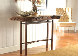 Console Table with Oblong Myrtlewood Slab