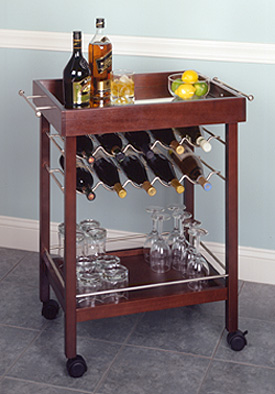 Winesome Wood 10 Bottle Wine Cart In Espresso Finish (Winsome Wood 92329  21713923295) Photo